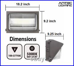 100W LED OUTDOOR WALL PACK with PHOTOCELL 5000K 12,000lm Glass Lens IP65 UL DLC