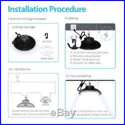 150W LED High Bay Light Fixture Dimmable IP65 21000lm 5000K & US Plug 5' Cable
