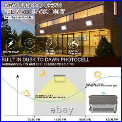 2Pcs 120W LED Wall Pack Light With photocell Dusk to Dawn Commercial Industrial