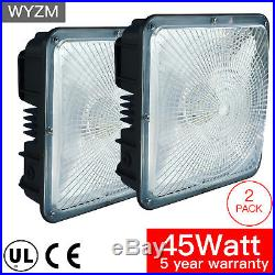 2 Pack 45W LED Canopy Light Commercial Fixture, Gas Station and Garage Lighting