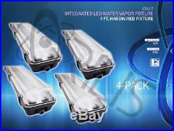 4-PACK 72W 4 Ft. Vapor Water Tight Hardwired LED Fixture 6500K Shop Light IP65