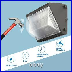 6Pcs 120W LED Wall Pack Light Photocell Dusk to Dawn Commercial Industria 5000K
