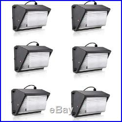 6 Pack 50W LED Wall Pack Fixture, 250-300W MH Replacement, 5000K, 4500 Lumens