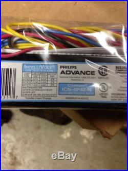 6 Philips Advance ICN4P-32-N 120-277V 3 or 4 Lamp T8 Electronic Ballast