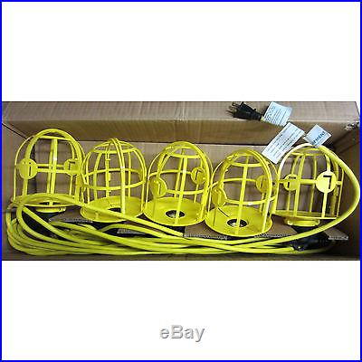 Contractor Grade 100' Construction Temp Work String Lights 10 Lamp NEW 1275525