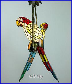 Creative Stained Glass 2 Parrots Fixture Hanging Lamp Ceiling Chandelier Light