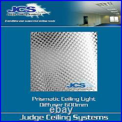 Prismatic Light Diffusers Clear 600 x 600mm. Suspended Ceilings. Box of 20
