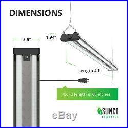 SUNCO 8 PACK 4ft 40W LED Industrial Frosted Shop Light 6000K Deluxe Daylight