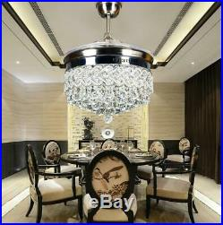 Silver 42 Crystal Ceiling Fan Chandelier with Led Light Remote Retractable Blades