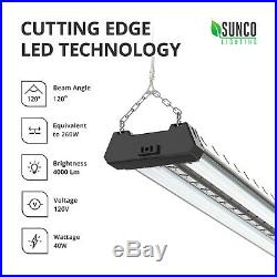 Sunco 10 Pack LED Industrial Shop Light 40W (260W) 6000K Daylight Deluxe 4000 lm