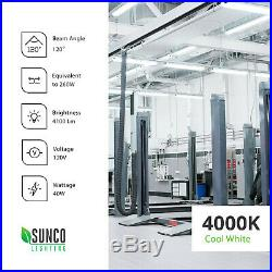Sunco 6 Pack Frosted LED Utility Shop Light 40W (260W) 4000K Cool White 4100 lm