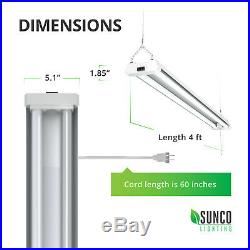 Sunco 6 Pack Frosted LED Utility Shop Light 40W (260W) 6000K Daylight Deluxe